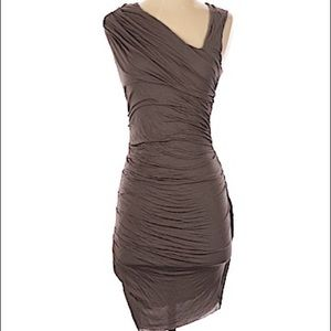Helmut Lang Ruched taupe asymmetrical dress
